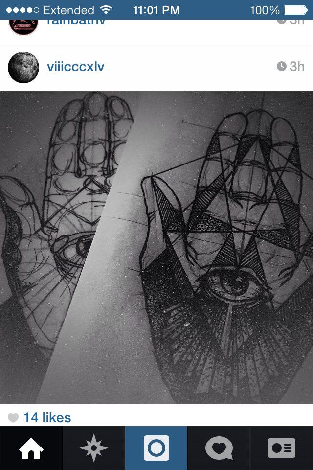 Hand eye lines geometry black