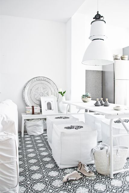 Moroccan tiles and white