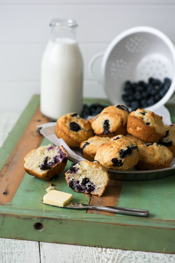Toasted on the outside, fluffy and delicate on the inside with juicy bursting blueberries, these Buttermilk Blueberry Muffins are comfort in every bite.