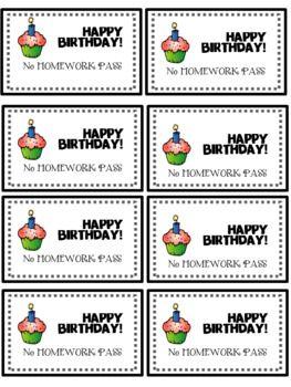 Birthday No Homework Pass FREEBIE