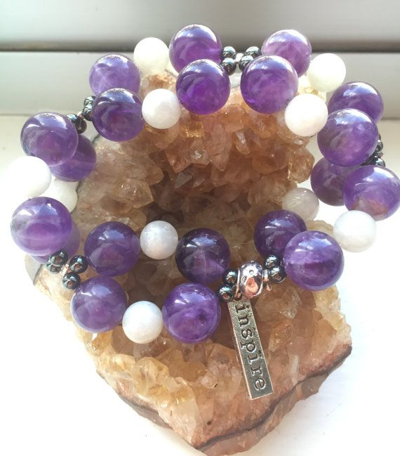 Crystal Bracelet - Double the Enchantment, with amethyst, hematite and moonstone stretchy bracelet - custom order only