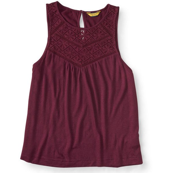 Aeropostale Prince & Fox Lace Bib Tank (35 PEN) ❤ liked on Polyvore featuring tops, crimson tide, relaxed fit tank top, lace tank, purple tank, lace top and aéropostale