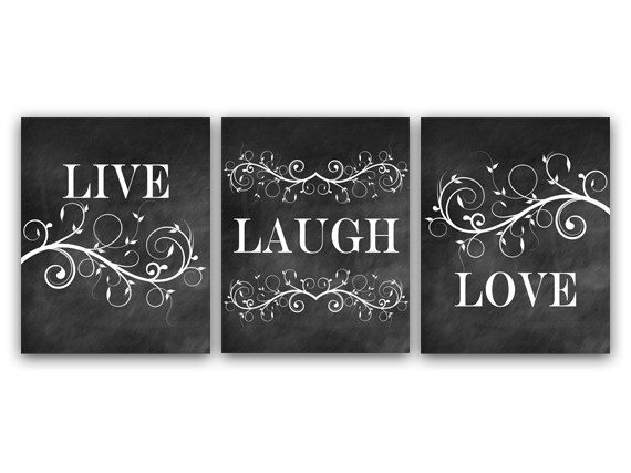 Home Decor Wall Art Live Laugh Love Art by WallArtBoutique on Etsy