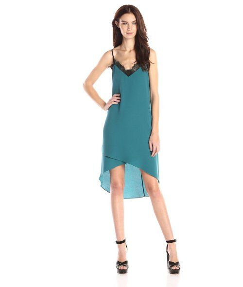 9 Amazing Cheap Summer Cocktail Dresses: Cheap stylish green slip summer cocktail dress with V-neck and asymmetric hem by BCBGMAXAZRIA (Shop style HERE)