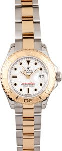 Ladie's Rolex Yacht-Master Gold White Dial - Save $1000 - Ships FREE