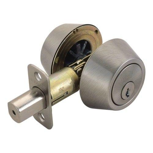 Design House 784850 Pro Double Cylinder Keyed Entry Deadbolt with Radius Corner, Grey metal