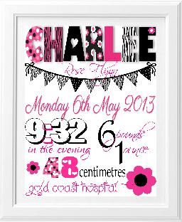 Brash Designs Personalised Art, birth print, birth announcement, newbon gift | Birth Announcements