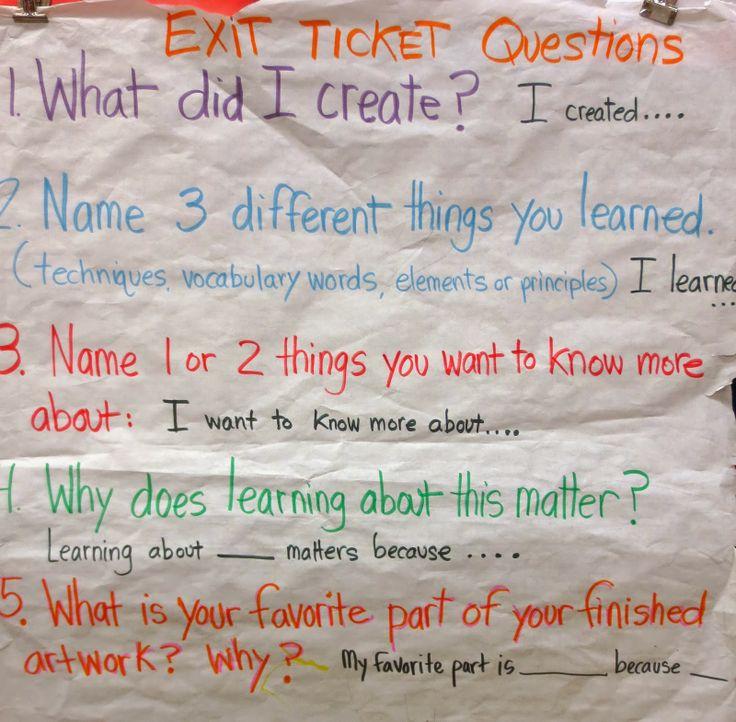 Exit ticket question | Zilker Elementary Art Class