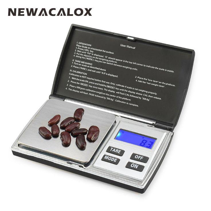 NEWACALOX 500g x 0.01g Numérique Balances de Précision pour Bijoux En Or Échelle 0.01 Pocket Balance Électronique Échelles En Acier Inoxydable