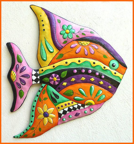 Tropical Fish Wall Hanging, Painted Metal Fish Art Design, Tropical Decor, Metal Art, Metal Wall Art, Tropical Art, Patio Decor – J-452-OR