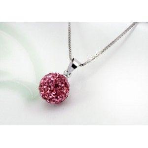 Pink Shamballa Crystal Ball Drop Necklace