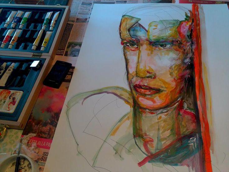 Work in progress - Dettaglio di dipinto su carta, tecnica ad acquerelli e acrilici, di Maurizio Scorza (2016), in vendita su ETSY https://www.etsy.com/shop/ScorzaArte