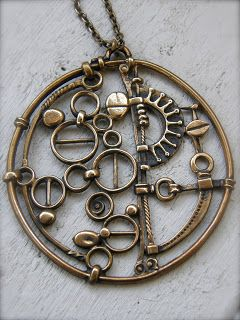 Jorma Laine, Finnish designer 1930-2002. Vintage bronze pendant. Steampunk jewellery