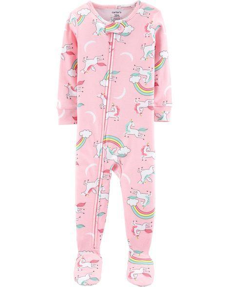 9dce4ff72 1-Piece Unicorns Footed Snug Fit Cotton PJs