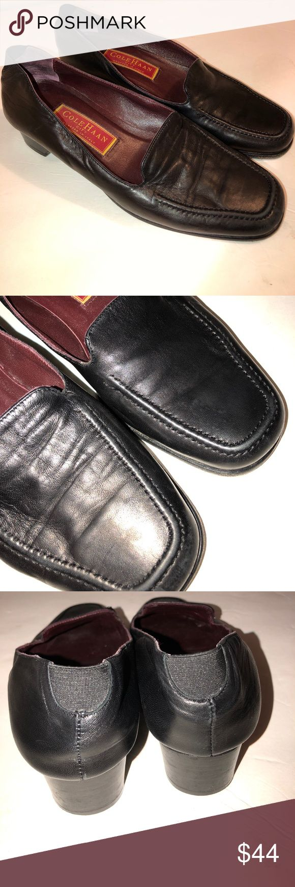COLE HAAN CITY LEATHER SLIDE SLIP ON LOAFERS HEEL Beautiful and classic Cole Haan soft leather slip on loafers with slight wooden heel. These gorgeous shoes were made in Italy. They are a size 6.5 and in EUC, worn once or twice and then stored in closet since. These well made shoes are so comfortable and made to last a life time. Smoke and pet free home. Cole Haan Shoes Flats & Loafers