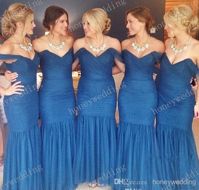 Short Gown 2015 Top Fashion Mermaid Bridesmaid Dresses Cheap Sexy Off Shoulder Pleated Organza Royal Blue Bridesmaids Dresses Alfred Angelo Junior Bridesmaid Dresses From Honeywedding, $115.19  Dhgate.Com