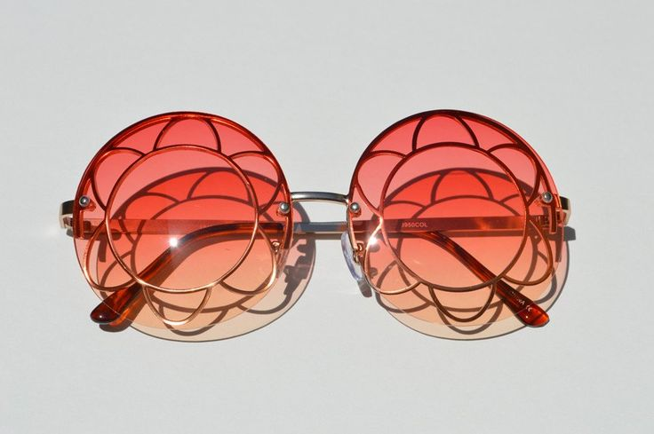 Round Oversized Sunglasses Janis Joplin Festival  Colorful Lense pink yellow