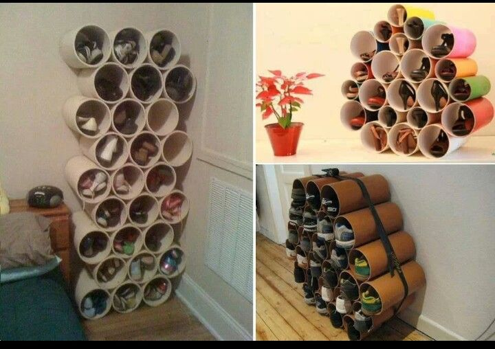 Shoe Organizer via PVC Tubes - #DIY #Organization