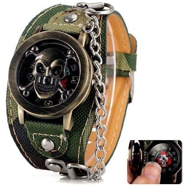 Luxury Flip Skull Head Cover Quartz Wrist Watch with Analog Leather... ($5.16) ❤ liked on Polyvore featuring men's fashion, men's jewelry, men's watches, mens skull watches, mens analog watches, mens leather watches and mens quartz watches