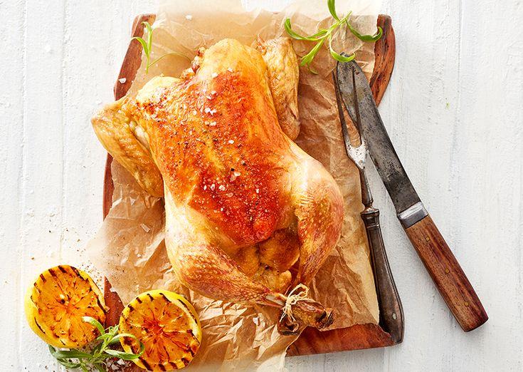 Sprængt grillet kylling med citron og estragon