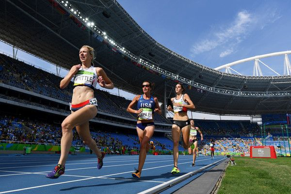 Laura Whittle of Great Britain leads the pack during the Women's 5000m Round 1 - Heat 1 on Day 11 of the Rio 2016 Olympic Games at the Olympic Stadium on August 16, 2016 in Rio de Janeiro, Brazil.