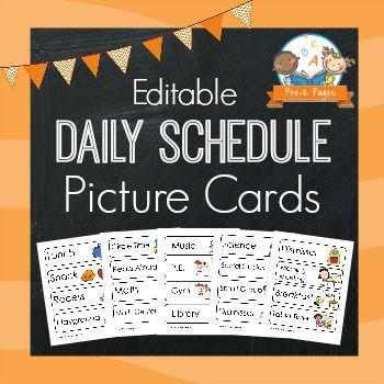 Editable Daily Schedule Picture Cards for Preschool, Pre-K, and Kindergarten. More than 30 different cards, 23 pages ready to print + fully editable so you can change the words to meet your needs or language.