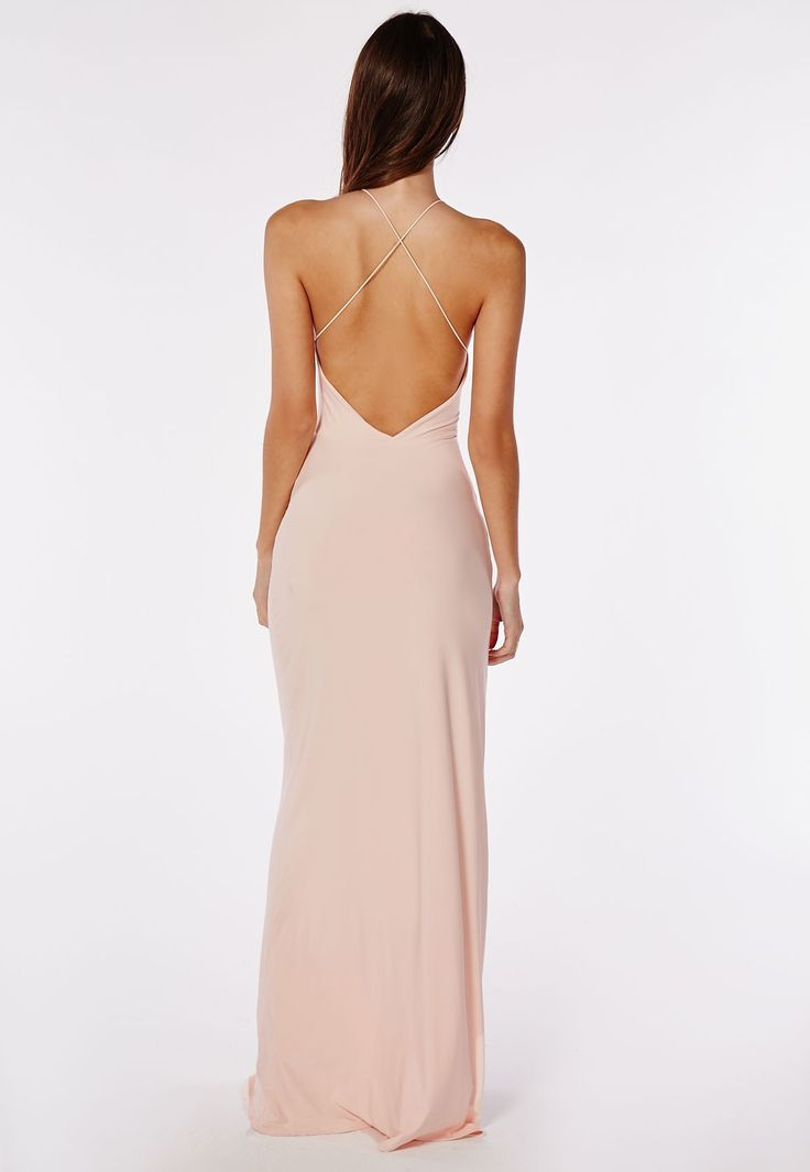 Missguided - Slinky Side Split Maxi Dress Nude
