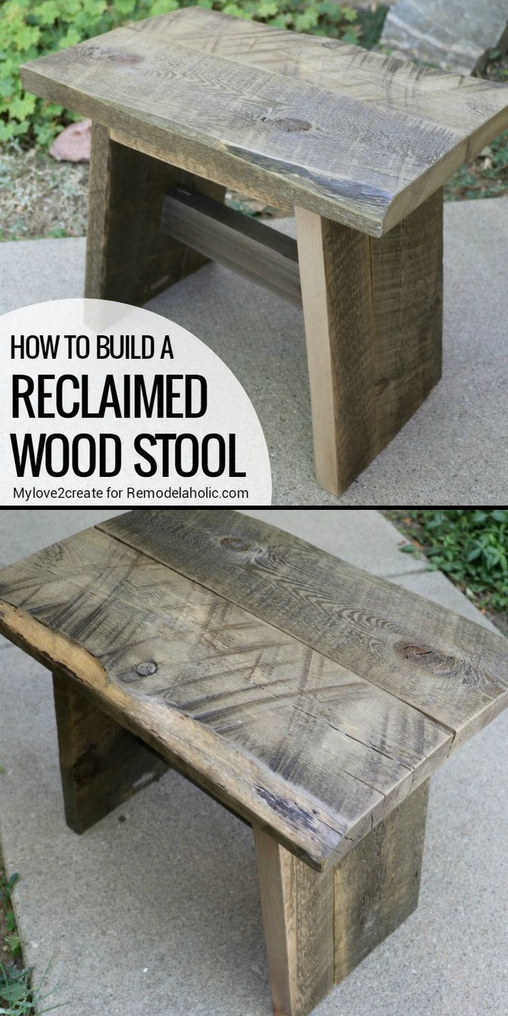 Best 25 reclaimed wood side table ideas on pinterest wood side how to build a reclaimed wood stool remodelaholic geotapseo Gallery