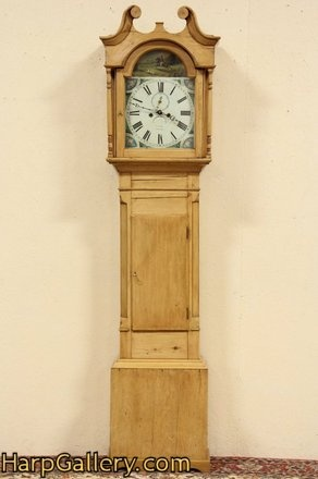 Georgian 1825 Country Pine Tall Case Grandfather Clock   Harp Gallery  Antique Furniture