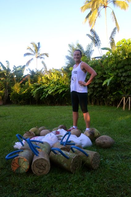 Keeping it simple... rice sacks, coconuts and bamboo kettle bells... training Sharing Bali Style