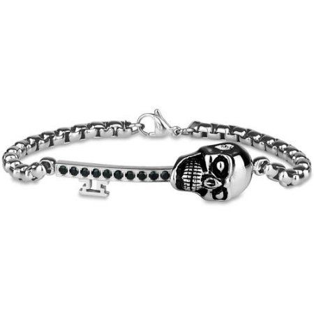 Black CZ 316L Stainless Steel Sideways Key Skull Bracelet, 8.5 inch, Men's