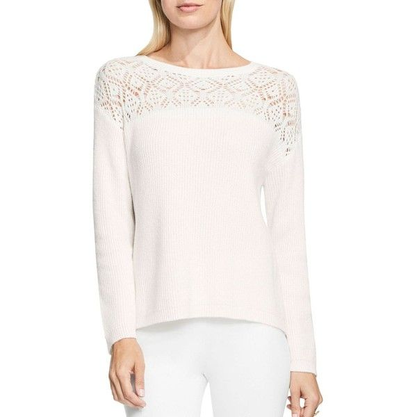 45ce22ca39e Vince Camuto Pointelle Long Sleeve Lace Yoke Crewneck Sweater ( 89) ❤ liked  on Polyvore