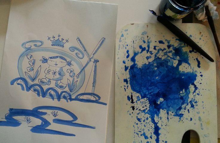 Mädchen blau und weiß Illustrationen