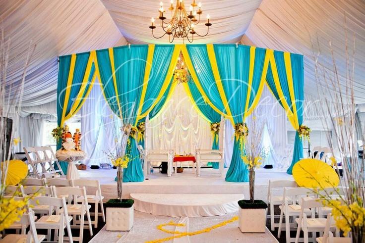 Turquoise Yellow Fabric Mandap By Elegance Decor Chicago Www Elegance Decor Com Weddings Pinterest Yellow Weddings Weddings And Summer Weddings