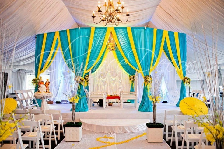 Turquoise Yellow Fabric Mandap By Elegance Decor Chicago