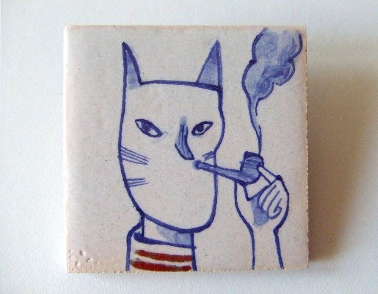 Handmade and unique ceramic pin.