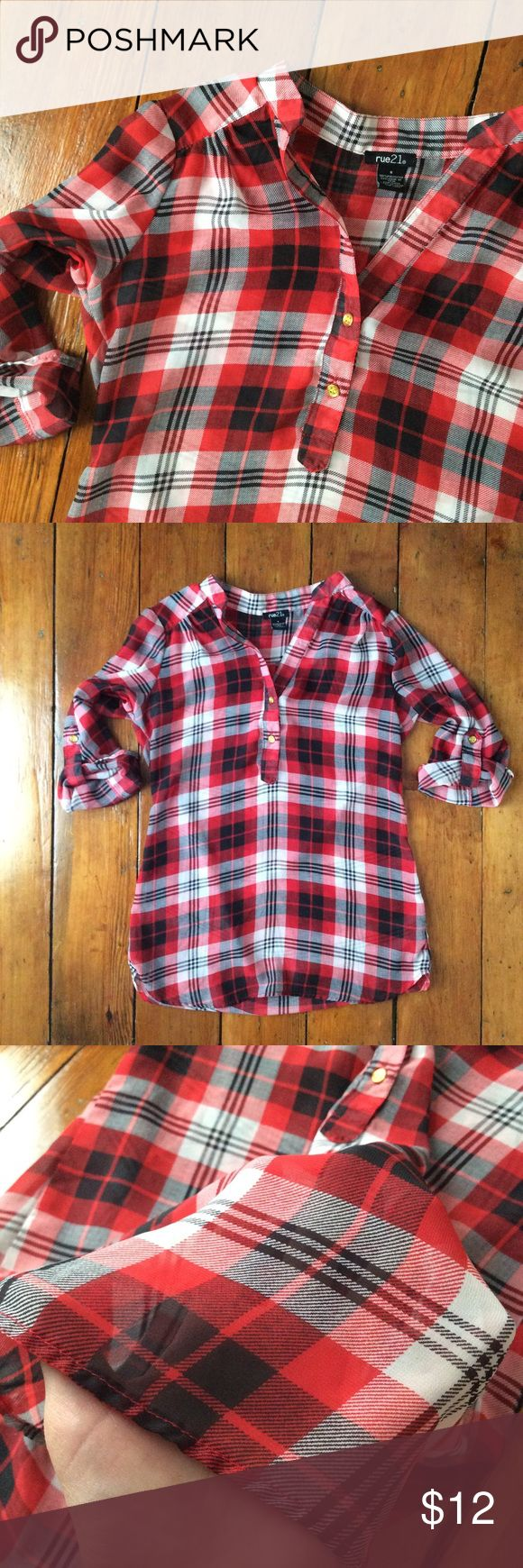 """[Rue 21] Red & Black Plaid Tunic Top - Size S Lightweight sheer plaid tunic from Rue 21. Red, black, and white colors with gold button detail. Size small. Measures 19"""" across chest, underarm to underarm. 28.5"""" in length, from top of neck to bottom hem. The fabric is semi-sheer, so it is meant to be worn with a cami or tank underneath. Would look super cute with a pair of black leggings this fall! Rue 21 Tops"""