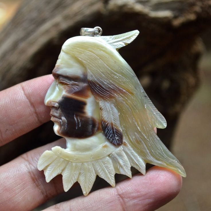"Hand Carved Indian Spirit 2.5"" Buffalo Horn Carving Pendant 925 Silver BH3358 #Handmade #Pendant"
