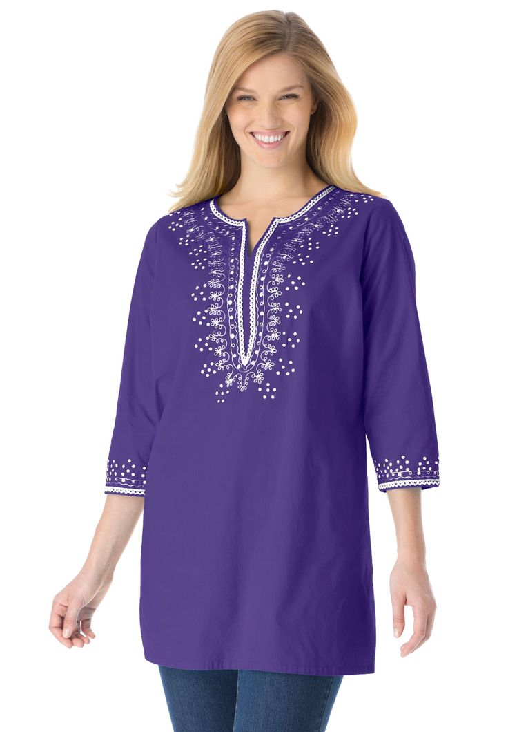 Plus Size Tunic Top With Sequin Embroidery Clothes Tops
