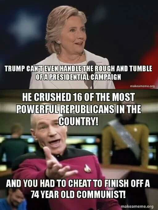 Cheater vs Champion.. Vote Trump!!