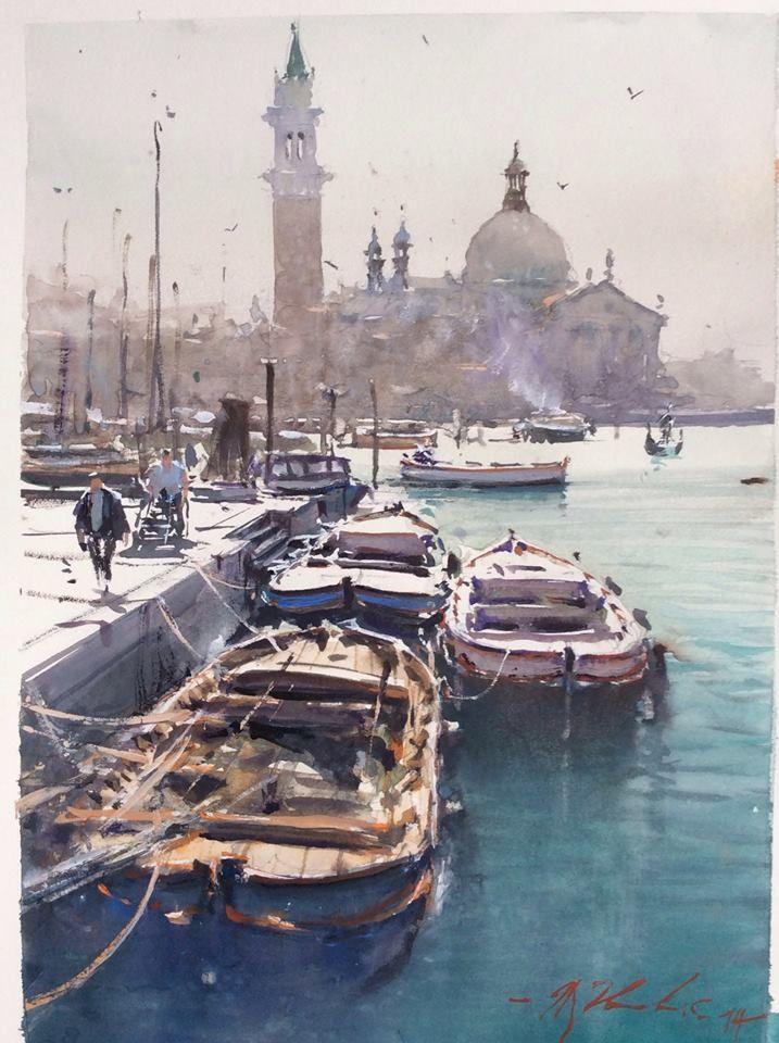 Joseph Zbukvic, Unloading Barges, 13 x 8 3/4.