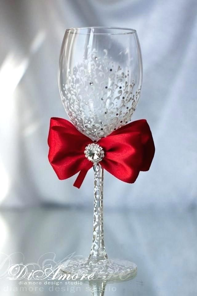 Red Wedding Wine Glass For Bride Wedding Toasting Glasses Wedding