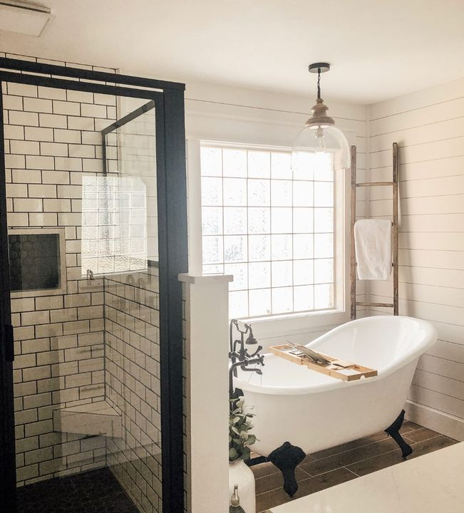 Happy Sunday Everyone Just Wanted To Share My Bathroom Remodel For The Master Bath I Master Bathroom Design Bathroom Remodel Master Farmhouse Master Bathroom