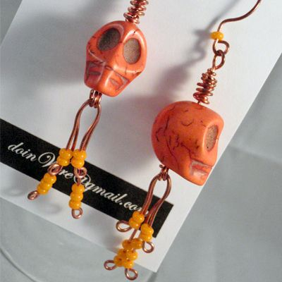 DOW75-doinWire Skull Earrings-Orange https://www.facebook.com/pages/Doinwire/674536245909901
