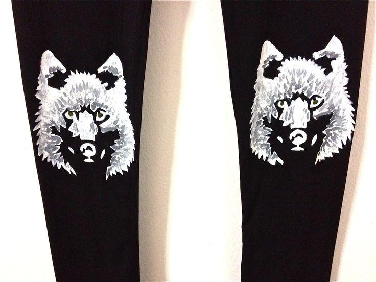 Black wolf leggings for women, Plus size leggings, Black yoga pants, Women's leggings