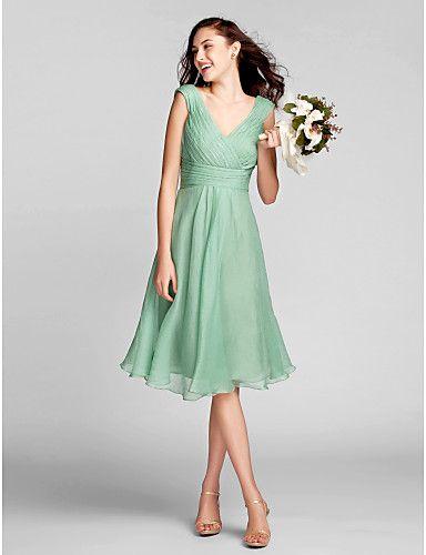 lanting knielange chiffon bruidsmeisje jurk - sage grote maten / tenger a-lijn v-hals 2016 - €83.78