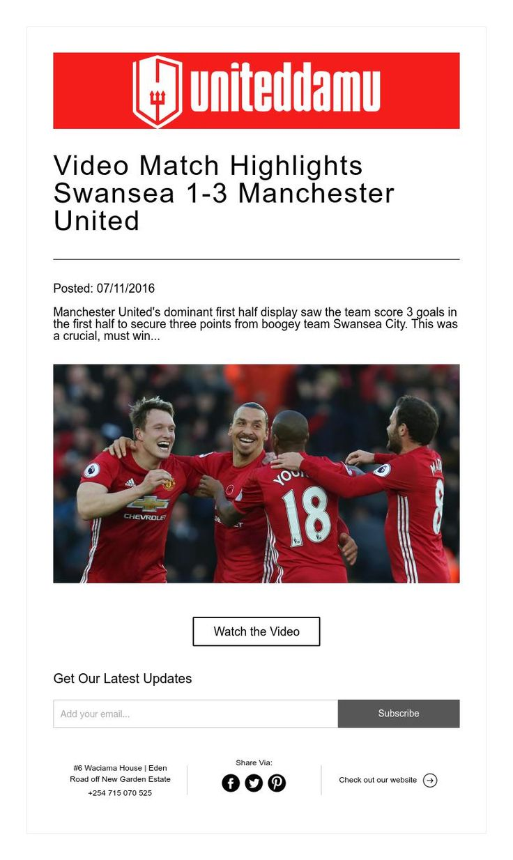 Video Match Highlights Swansea 1-3 Manchester United