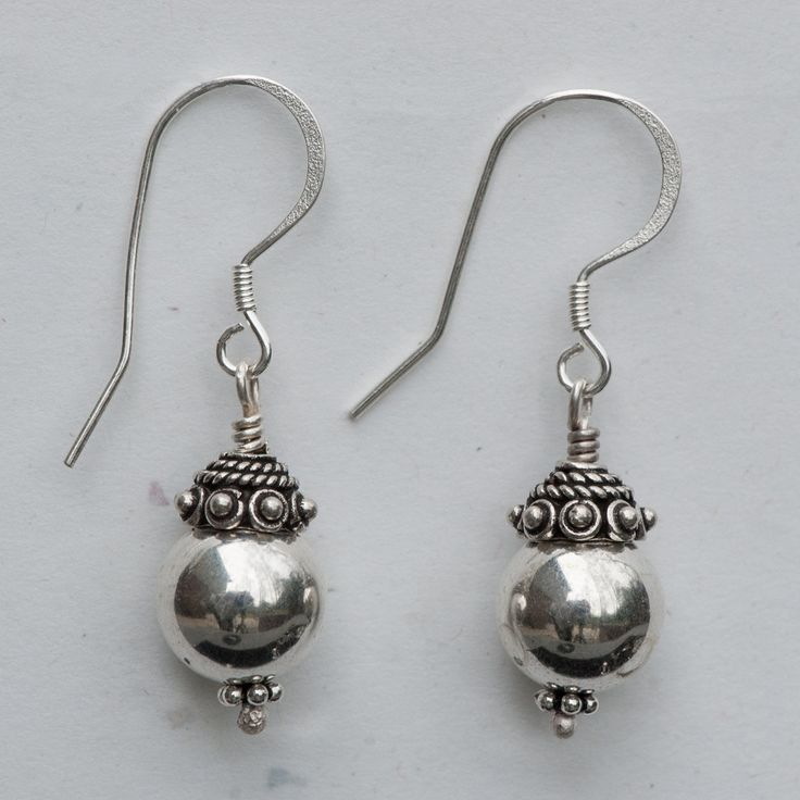 """Sterling silver 10mm rounds, India sterling silver beads, sterling silver ear wires, 1 3/8"""" long."""