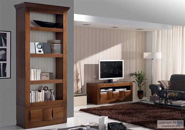 Muebles para el sal n duna composici n 8 precio librero y for Muebles salon madera maciza