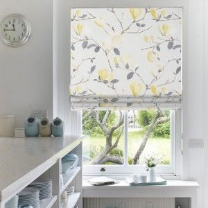 Our Mimosa Balls Roman blind has a light yellow tone to bring to bring warmer climes http://www.web-blinds.com/blog/floral-blinds-with-eastern-promise/ #Roman #blinds #blind #Eastern #florals #Oriental #home #interiors